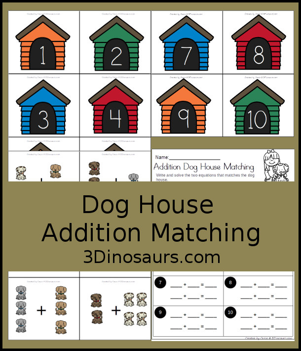 Free Dog House Addition Matching - work on addition 1 to 10 with a dog theme - 3Dinosaurs.com