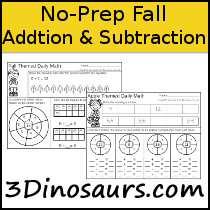 No-Prep Fall Themed Addition & Subtraction