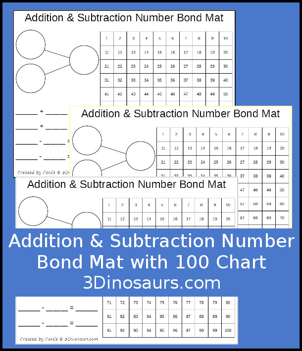 Addtiion & Subtraction Number Bond Mat - hands on learning mat is 10 different colors - 3Dinosaurs.com
