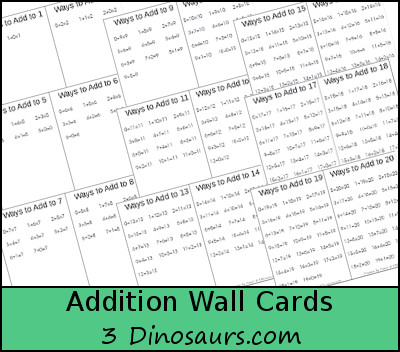 Free Addition Wall Cards: 1 to 20