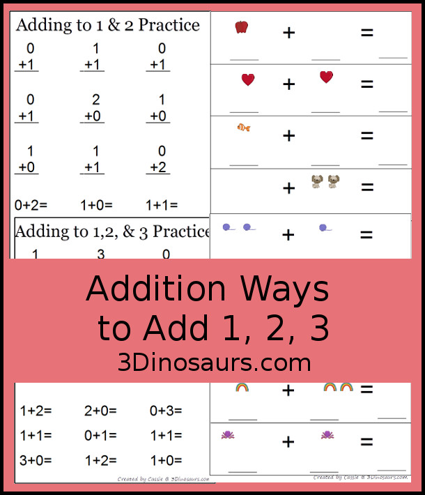 photograph regarding Free Printable Addition Flash Cards known as Practices towards Insert, Addition Flashcards Counting 3 Dinosaurs