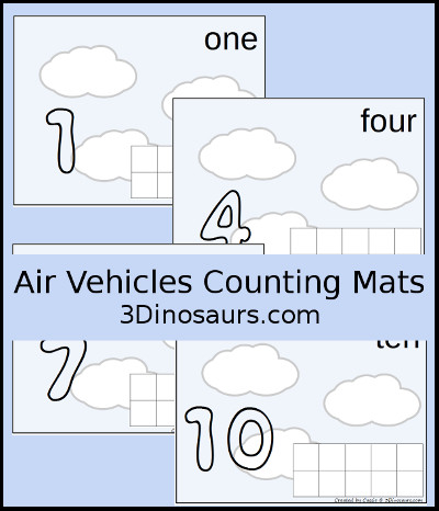 Air Vehicle Counting Mats Number 1 to 10 - 3Dinosaurs.com