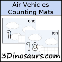 3 Dinosaurs - Air Vehicle Counting Mats Number 1 to 10