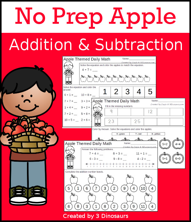 No Prep Apple Themed Addition & Subtraction - 30 pages no-prep printables with a mix of addition and subtraction activities plus a math center activity - 3Dinosaurs.com #noprepmath #tpt #addition #subtraction
