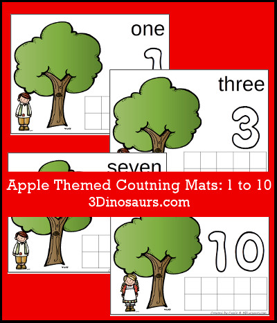 Apple Counting Mats Number 1 to 10 - 3Dinosaurs.com