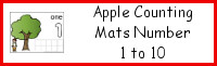 Apple Counting Mats Number 1 to 10