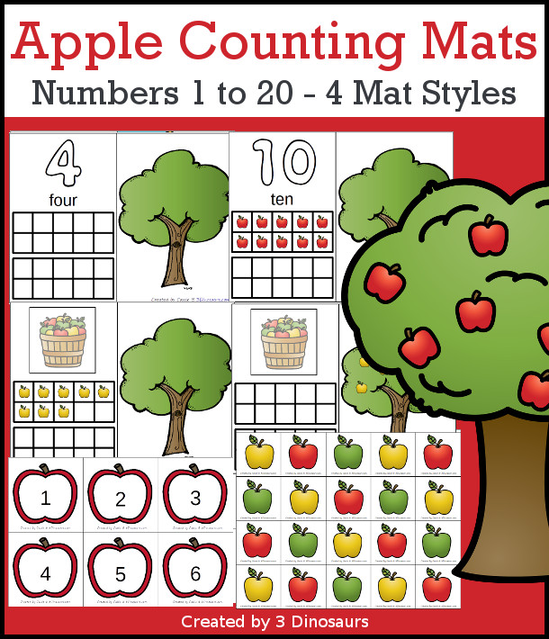 Apple Themed Counting Mats: Number 1 to 20  with four mat options- 3Dinosaurs.com