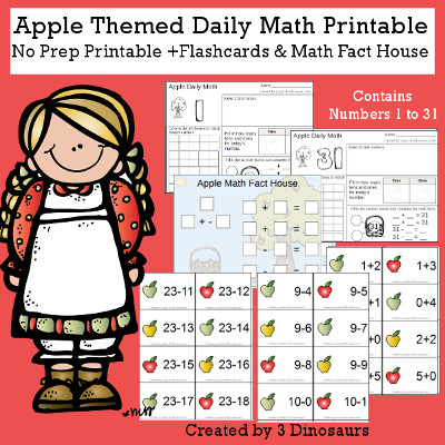 Apple Daily Math For the Fall - flashcards Addition & subtraction, math fact house and no-prep printables $6 - 3Dinosaurs.com