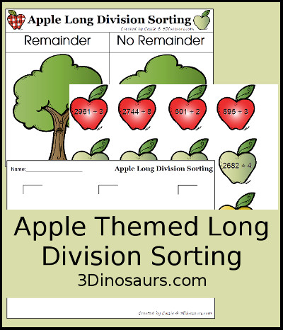 Apple Long Division Sorting - 3Dinosaurs.com