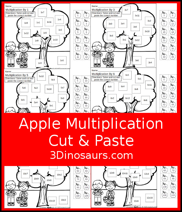 Free Apple Multiplication Cut & Paste - they work on multiplication from 1 to 12 with 12 cut and paste on each page in black and white with apples and apple trees- 3Dinosaurs.com #3dinosaurs #nopreprintable #freeprintable #multiplication #thirdgrade #fourthgrade