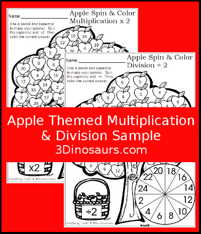 Apple Themed Multiplication & Division Sample - 3Dinosaurs.com