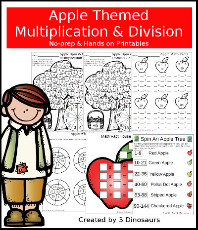 Apple Multiplication & Division Printable set - 3Dinosaurs.com