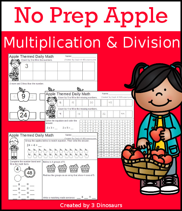 No Prep Apple Themed Multiplication & Division  - 30 pages no-prep printables with a mix of multiplication and division  activities plus a math center activity - 3Dinosaurs.com #noprepmath #tpt #division #multiplication