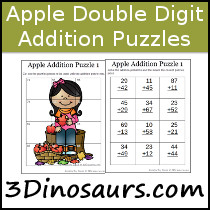 Apple Double Digit Addition Puzzles - 3Dinosaurs.com