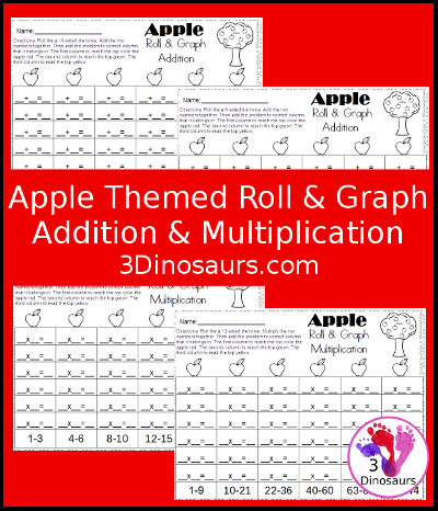 Apple Roll & Graph  Math - 3Dinosaurs.com