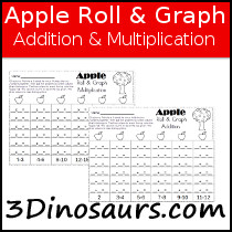 Apple Roll & Graph Math Printable - 3Dinosaurs.com