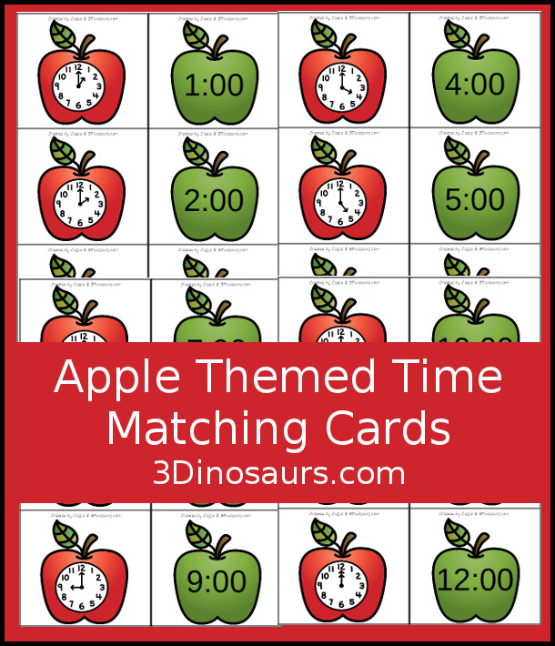 Free Apple Time Matching Cards - 2 matching cards for hourly time from 1 to 12 -  3Dinosaurs.com #tellingtime #mathforkids #kindergarten #firstgrade #freeprintable