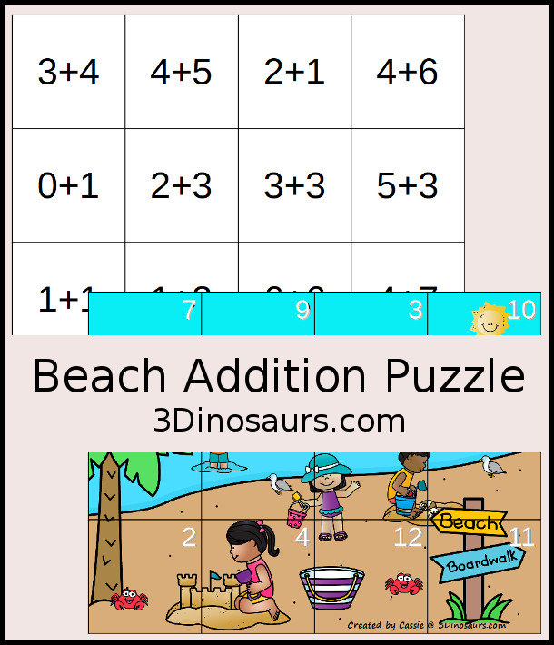 Free Beach Themed Addition Puzzle - with addition from 1 to 12 with a hands-on matching puzzles with a beach scene. - 3Dinosaurs.com #3dinosaurs #handsonmath #freeprintable #addtion #firstgrade #kindergarten