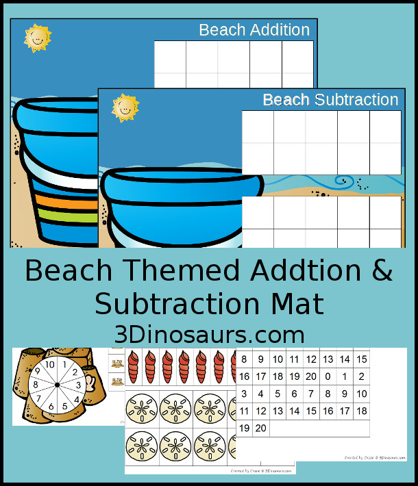 FREE Hands-On Beach Themed Addition & Subtraction Mats - two mats with counters for ten frame and shells for the pail - 3Dinosaurs.com