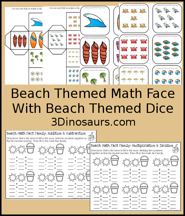 Free Easy No-Prep Beach Math Facts - addition and subtraction or multiplication and division with beach themed dice - 3Dinosaurs.com