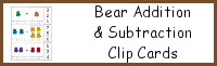 Bear Addition and Subtraction Clip Cards