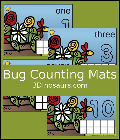 Bug Counting Mats Number 1 to 10 - 3Dinosaurs.com