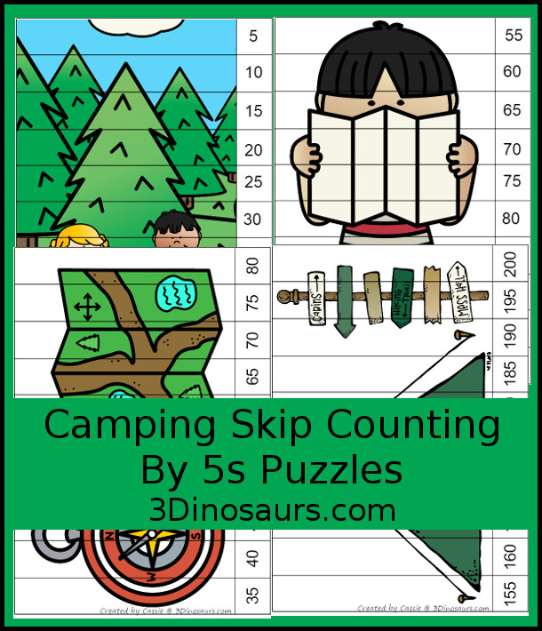 Free Fun Camping Skip Counting by 5 Puzzles - 4 pages of puzzles with template - 3Dinosaurs.com