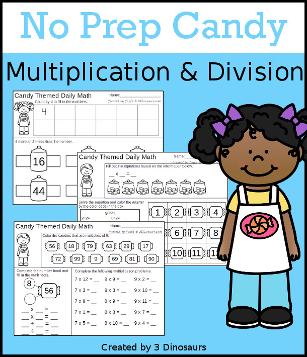 No Prep Candy Themed Multiplication & Division  - 30 pages no-prep printables with a mix of multiplication and division  activities plus a math center activity - 3Dinosaurs.com #noprepmath #tpt #division #multiplication
