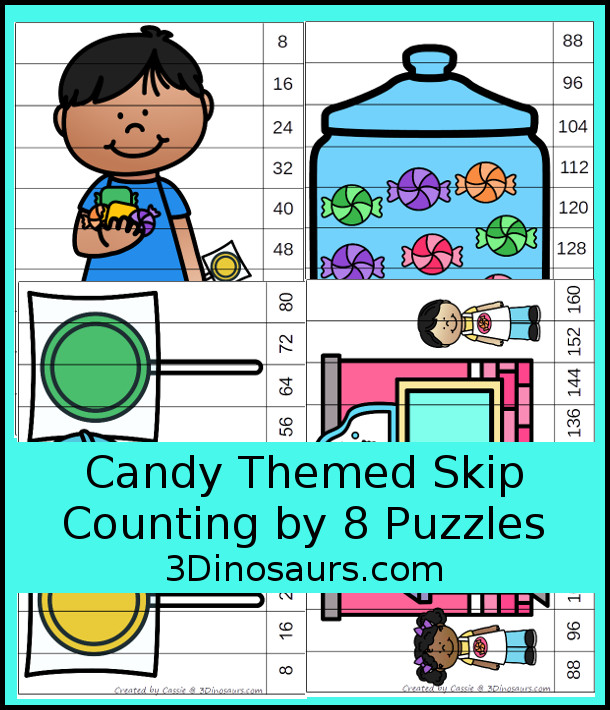 Free Fun Candy Skip Counting by 8 Puzzles - 4 pages of puzzles with template - 3Dinosaurs.com