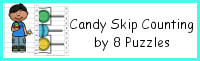Candy Themed Skip Counting by 8 Puzzles