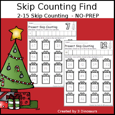 Christmas Skip Counting Number Find - 3Dinosaurs.com