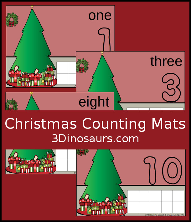FREE Hands-On Christmas Counting Mats for Numbers 1 to 10 - 12 pages of printables - 3Dinosaurs.com