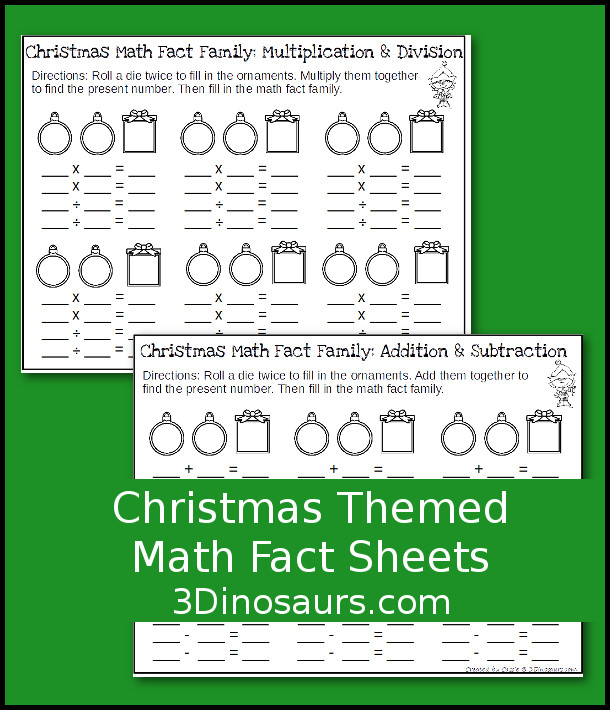 Free Easy No-Prep Christmas Math Facts - addition and subtraction or multiplication and division - 3Dinosaurs.com