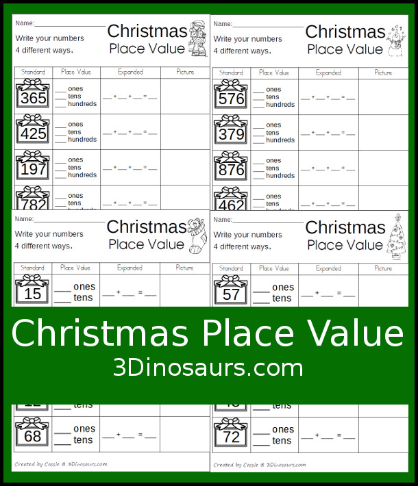 Free No-Prep Christmas Place Value - 4 pages of no-prep printables for kids to work on place value - 3Dinosaurs.com #freeprintable #shapesforkids #christmasprintables