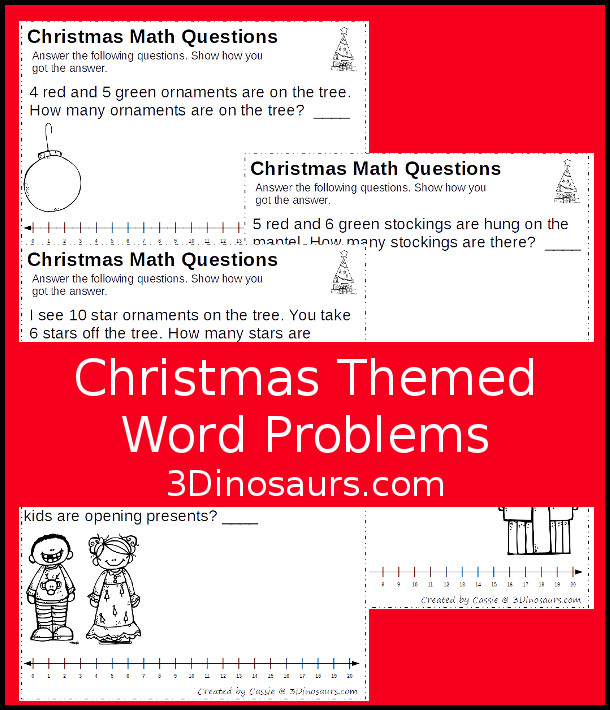Free No-Prep Christmas Themed Addition Word Printables - 3 pages of no-prep addition and subtraction word problems with a number line - 3Dinosaurs.com #nopreprprintables #mathforkids #freeprintables