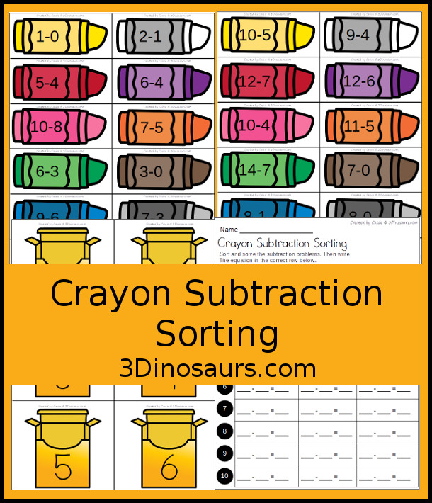 Free Crayon Subtraction Sorting - with crayon boxes and crayons to sort with subtraction problems. It also includes a recording sheet  - 3Dinosaurs.com