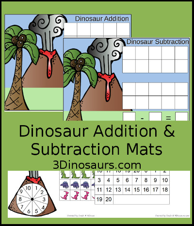 Dinosaur Addition & Subtraction Mats - 3Dinosaurs.com