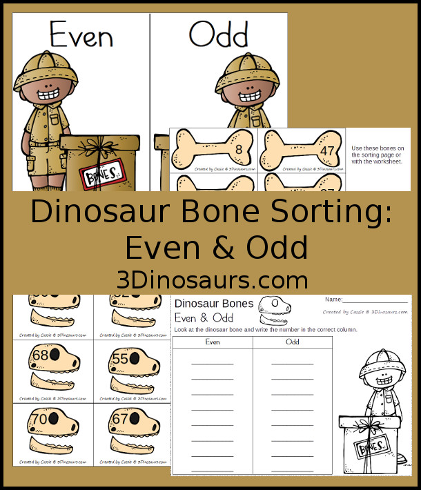 Free Hands-On Dinosaur Bones Sorting: Even and Odd - 16 cards with recording sheet and sorting mat - 3Dinosaurs.com