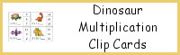 Dinosaur Multiplication Clip Cards