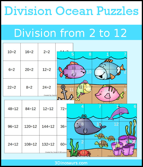 Hands-On Learning with Ocean Themed Division Puzzles - You can work on division from 2 to 12 with 11 fun learning puzzles-  3Dinosaurs.com