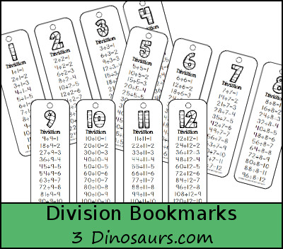 Free Division Bookmarks - Numbers 1 through 12 - 3Dinosaurs.com