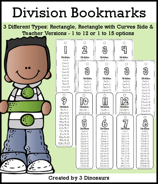 Division Bookmarks- skip counting by 1 to 12 or 1 to 15 - 3 versions with a teacher print included $2 - 3Dinosaurs.com
