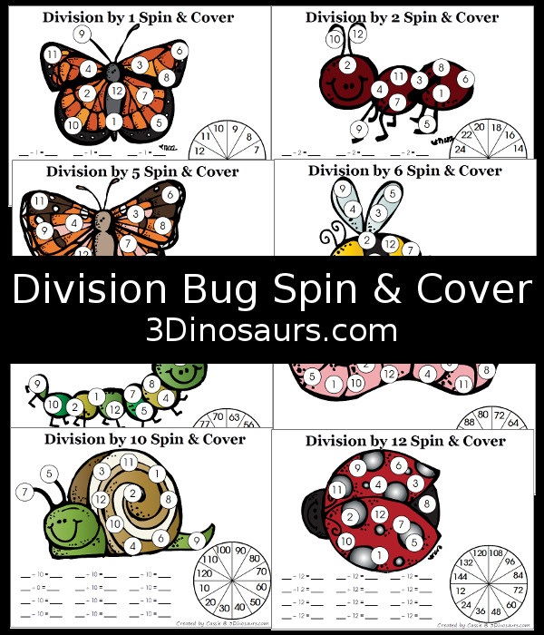 Free Bug Division Spin & Cover Printables - with division 1 through 12 - 3Dinosaurs.com