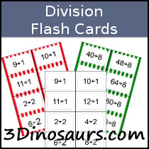 image about Division Flash Cards Printable identified as 3 Dinosaurs - Section Flashcards