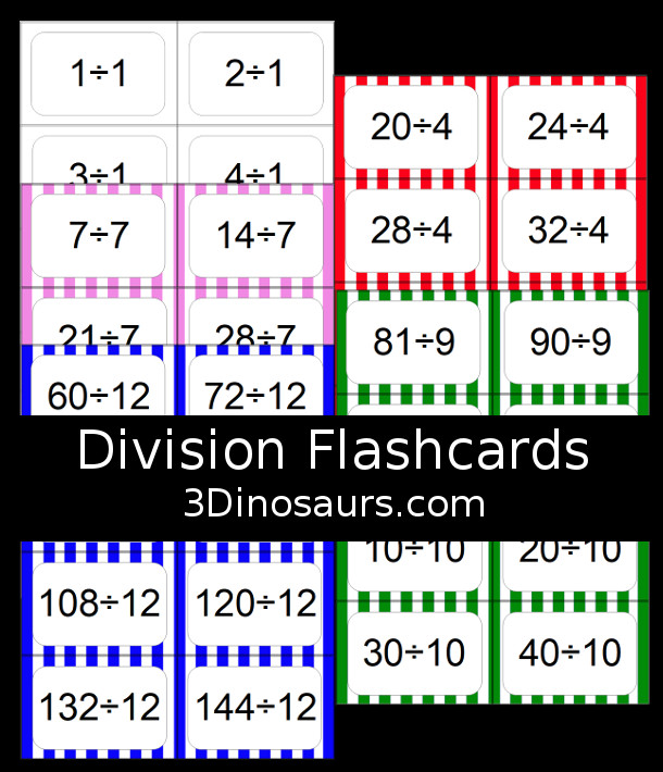 Free Division Flash Cards - with division from 1 to 12 with white, red, green, pink and blue options for the cards - 3Dinosaurs.com