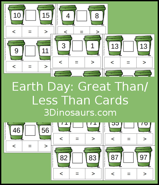 Free Earth Day Clip Cards for Comparing Numbers - greater than and less than with 5 pages of cards - 3Dinosaurs.com