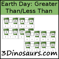 Earth Day Great Than - Less Than Clip Cards - 3Dinosaurs.com