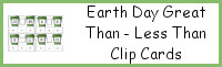 Earth Day Greater Than - Less Than Clip Cards