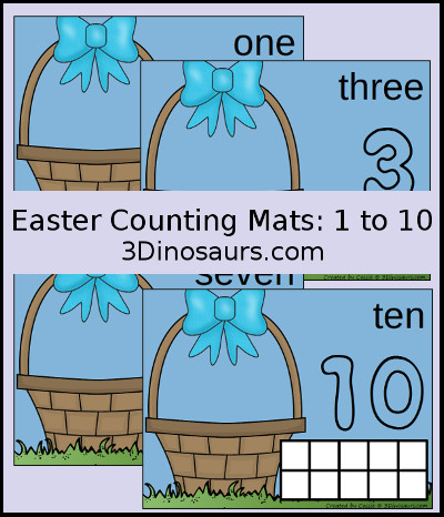 3 Dinosaurs - Easter Egg Counting Mats Number 1 to 10