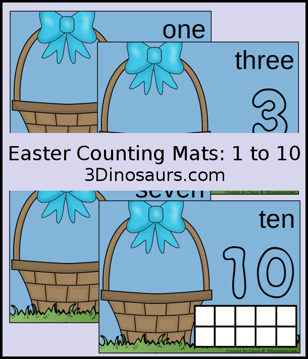Free Easter Egg Counting Mats: 1 to 10 - hands-on math with playdough number and ten frames - 3Dinosaurs.com